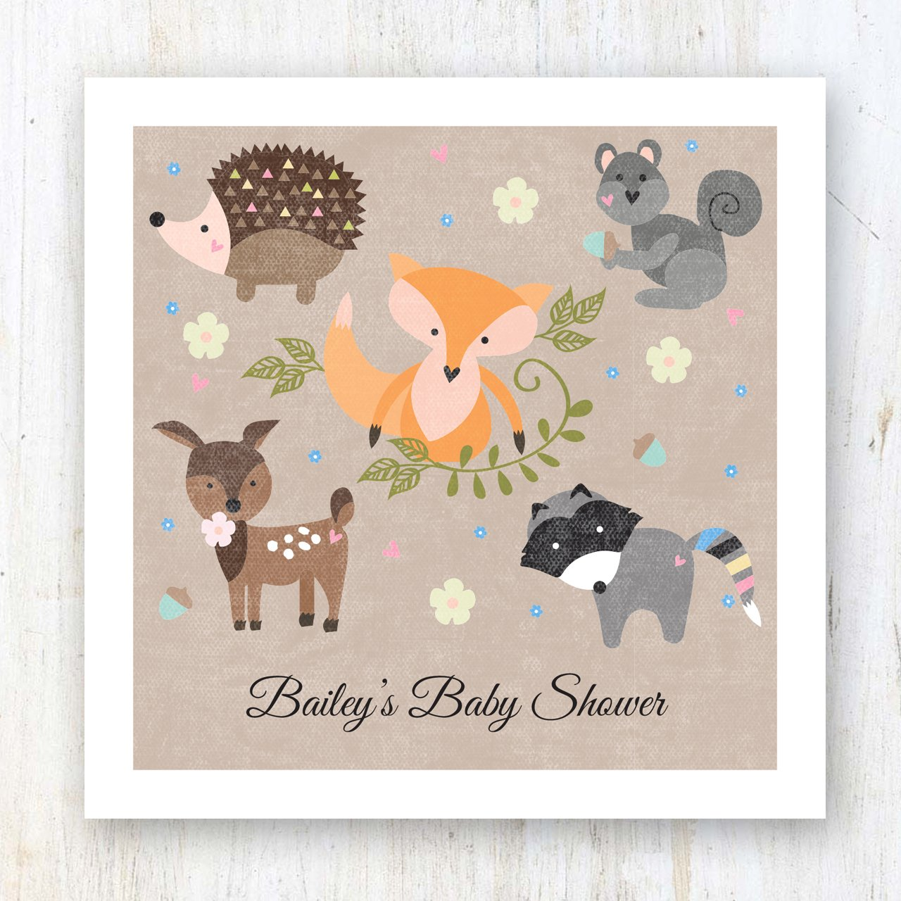 Woodland Animals Personalized Beverage Cocktail Napkins - 100 Custom Printed Paper Napkins by Canopy Street (Image #5)