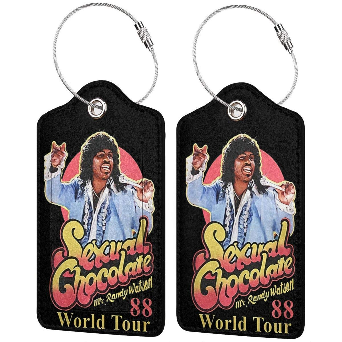 4 Kinds Of Specifications Sexual-Choco-late-World-Tour-88 Printed?Leather Luggage Tag /& Bag Tag With Privacy Cover