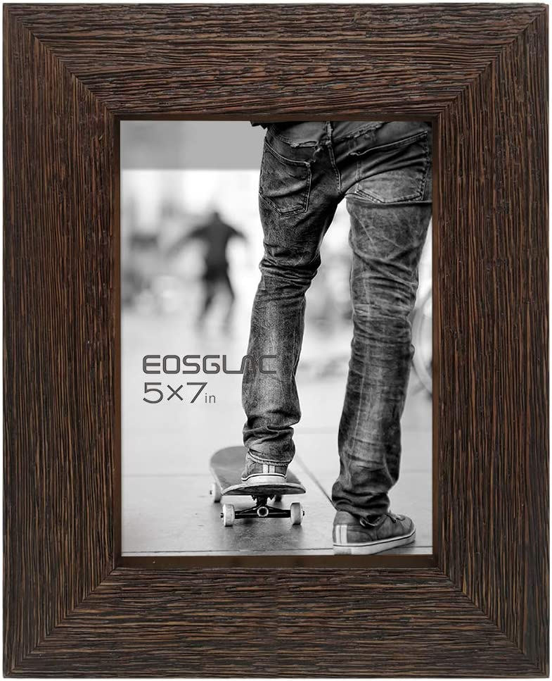 EosGlac Rustic Picture Frame 5x7, Weathered Dark Brown Reclaimed Look Wooden Photo Frame, Tabletop or Wall Mounting Display