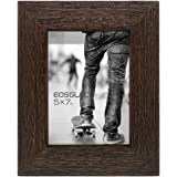 Eosglac Rustic Picture Frame 5x7, Weathered Dark Brown Reclaimed Look Wooden Photo Frame, Tabletop or Wall Mounting…