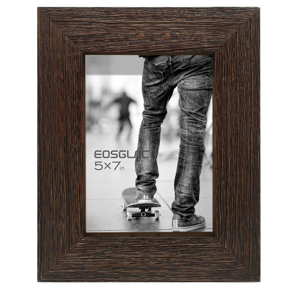 Eosglac Rustic Picture Frame 5x7, Weathered Dark Brown Reclaimed Look Wooden Photo Frame, Table Display with Easel by Eosglac