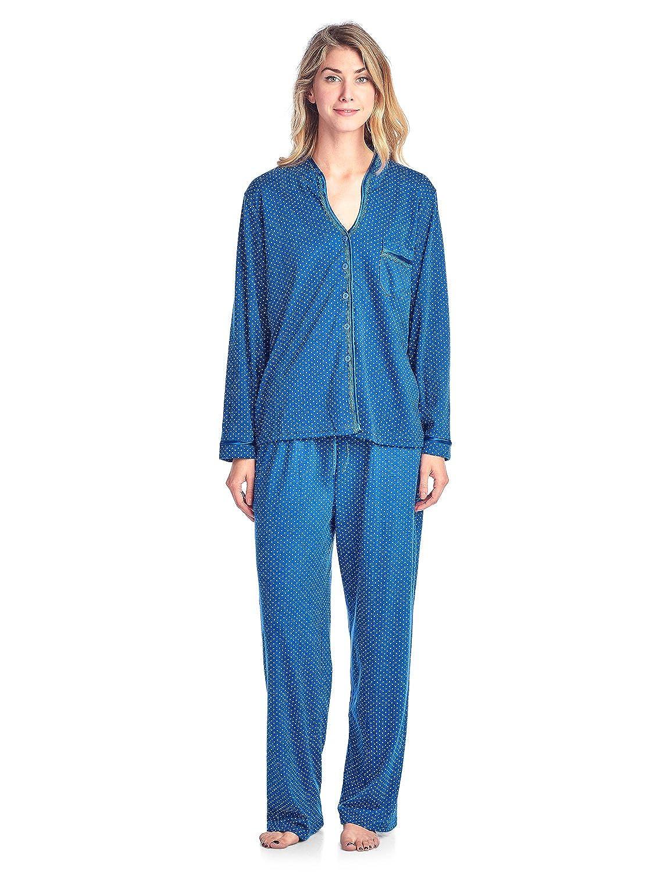 Casual Nights Women's Long Sleeve Lace Trim Print Pajama Set Lace Trim Pajama Set