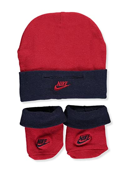 Amazon.com  Nike Baby Boys  Infant Hat   Booties - red navy 8e844d70bb7