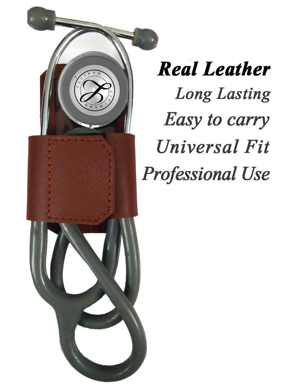 100% -Genuine Leather 3M Littmann Stethoscope Case for Women Men - MDF Adscope Stethoscope Holder Clip, Medical Nursing Accessories ADC Steth Holster Cover Kit for Nurse Cardiology Doctor (Brown) by BlingSoul (Image #1)