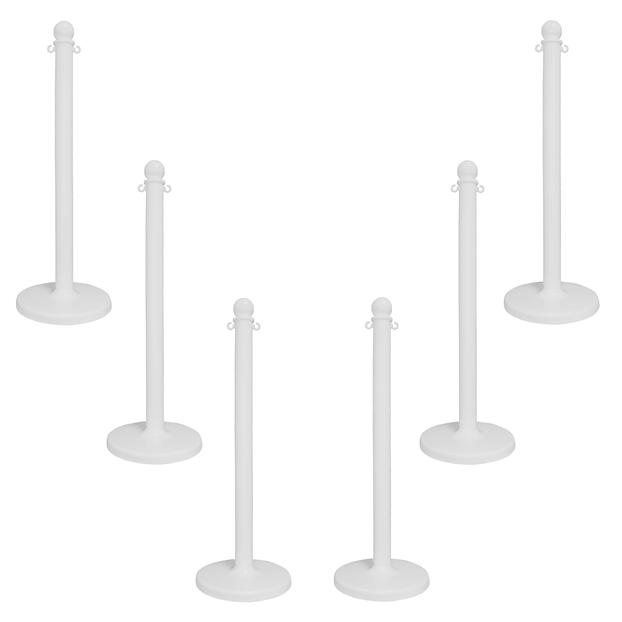 Mr. Chain 96401-6 White Stanchion, 2.5'' link x 40'' Overall Height, Pack of 6