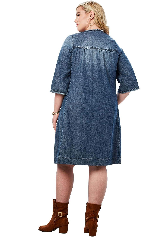105ae74a155 Roamans Women s Plus Size Denim Shirt Dress at Amazon Women s Clothing store