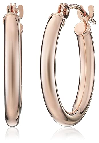 Amazoncom 14k Rose Gold Round Hoop Earrings 06 Diameter Jewelry