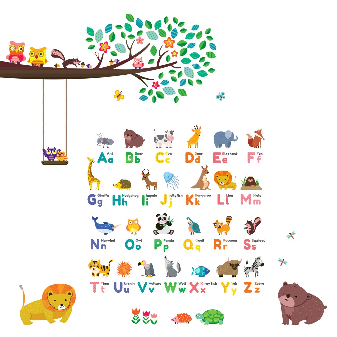 Decowall DW-1614P1410 Animal Alphabet ABC Large Branch Owls Kids Wall Stickers Wall Decals Peel and Stick Removable Wall Stickers for Kids Nursery Bedroom Living Room