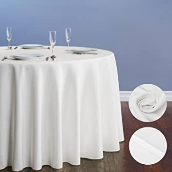 Voilamart Round Tablecloth 90 Inch White Polyester Table Cloth