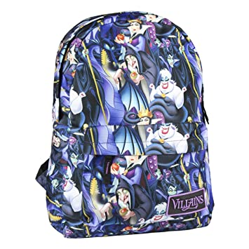Mochila Escolar de Las Villanas de Disney con Licencia Oficial para Jóvenes y Adultos 44 cm, Color Azul: Amazon.es: Equipaje