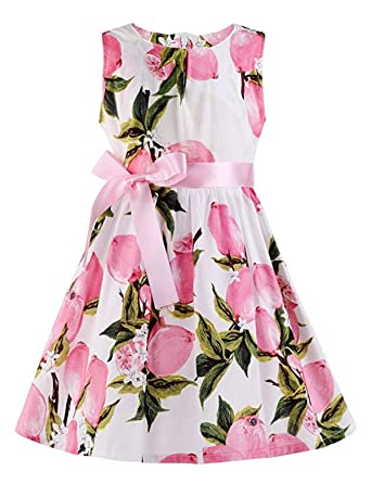 72dbd6dc8dd9 Amazon.com  BABSUE Girls Easter Dresses Rose Flower Vintage Floral  Sleeveless Swing Kids Party Sundress  Clothing