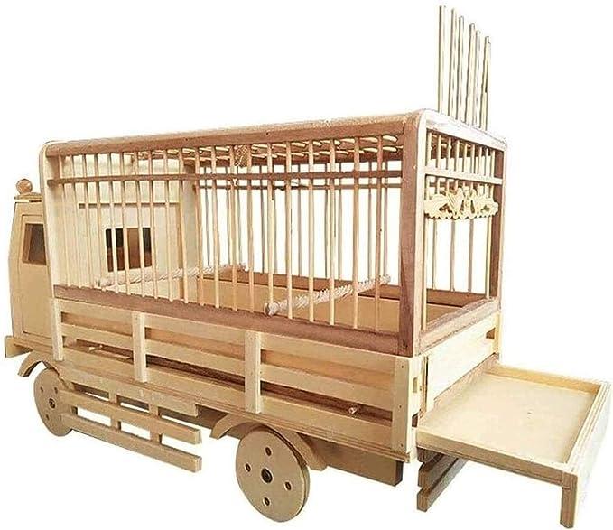 Jaula dpájaros duradera y ecológica, Loro jaula pájaro jaula de bambú modelo de automóviles cuatro ruedas deslizante pájaro anidada loro cría terrario suministros mascotas para aves de corral Jaula pa