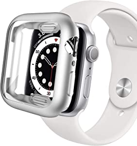 Miimall Compatible Apple Watch 44mm Case with Screen Protector Ultra-Thin Lightweight Shockproof Matte Plated Bumper Overall Protector Case Cover for Apple Watch 44mm Series SE/6/5/4(Silver)