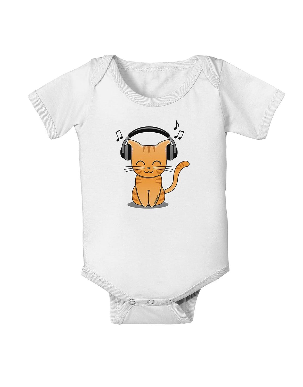 TooLoud Cute Kitty with Headphones Baby Romper Bodysuit