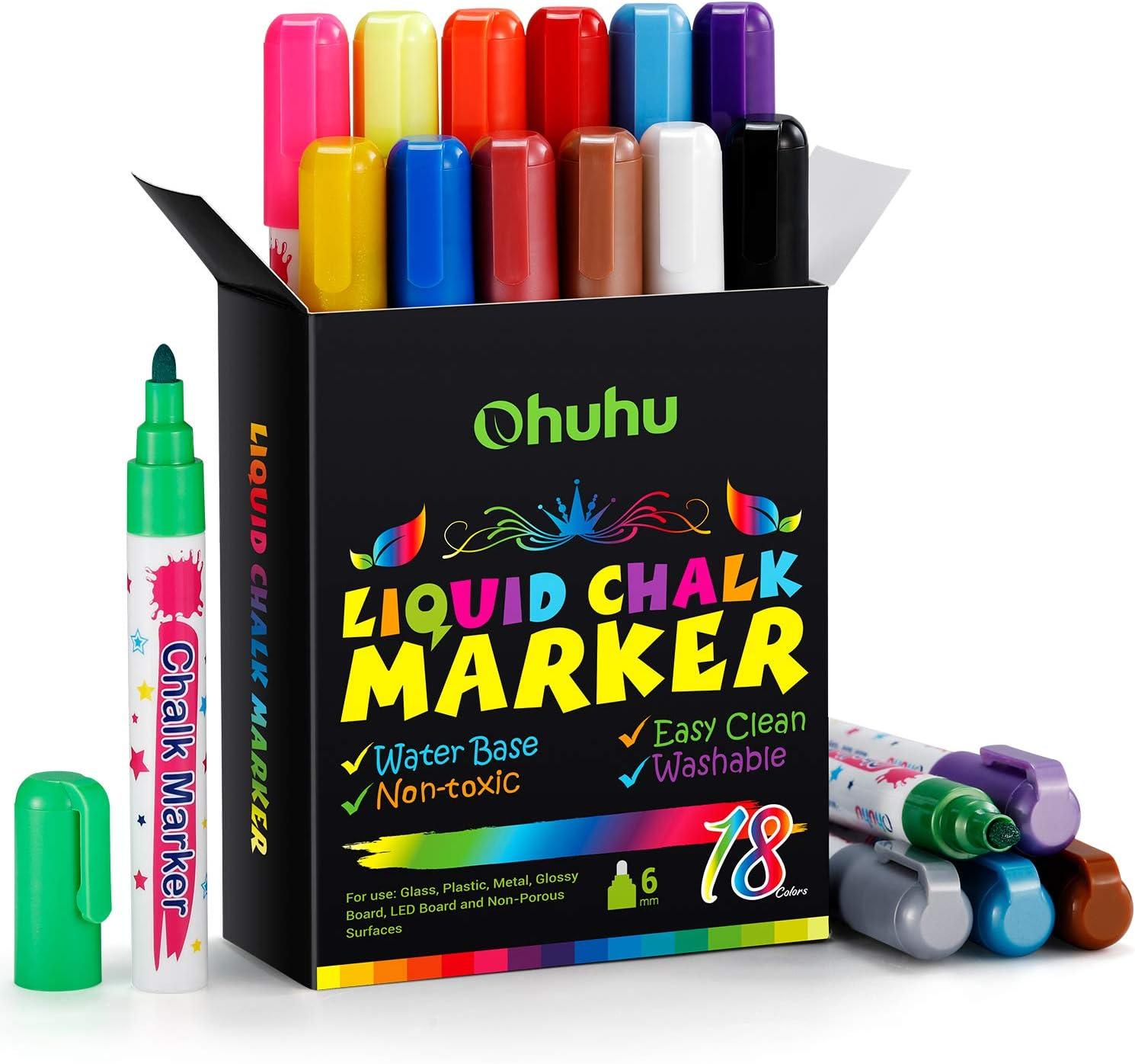 Liquid Chalk Marker & Metallic Colors Set, Ohuhu 18 Colors Chalk Pens for Chalkboard, Blackboards, Window, Glass, Bistro, 6mm Erasable Ink Chalk Markers Pen with Reversible Bullet & Chisel Tip