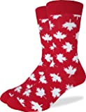 Good Luck Sock Men's Canada Maple Leaf Crew Socks - Red, Adult Shoe size 7-12