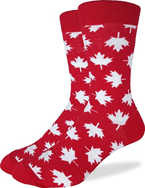 Adult Shoe size 7-12 Red Good Luck Sock Mens Canadian Mounties Crew Socks
