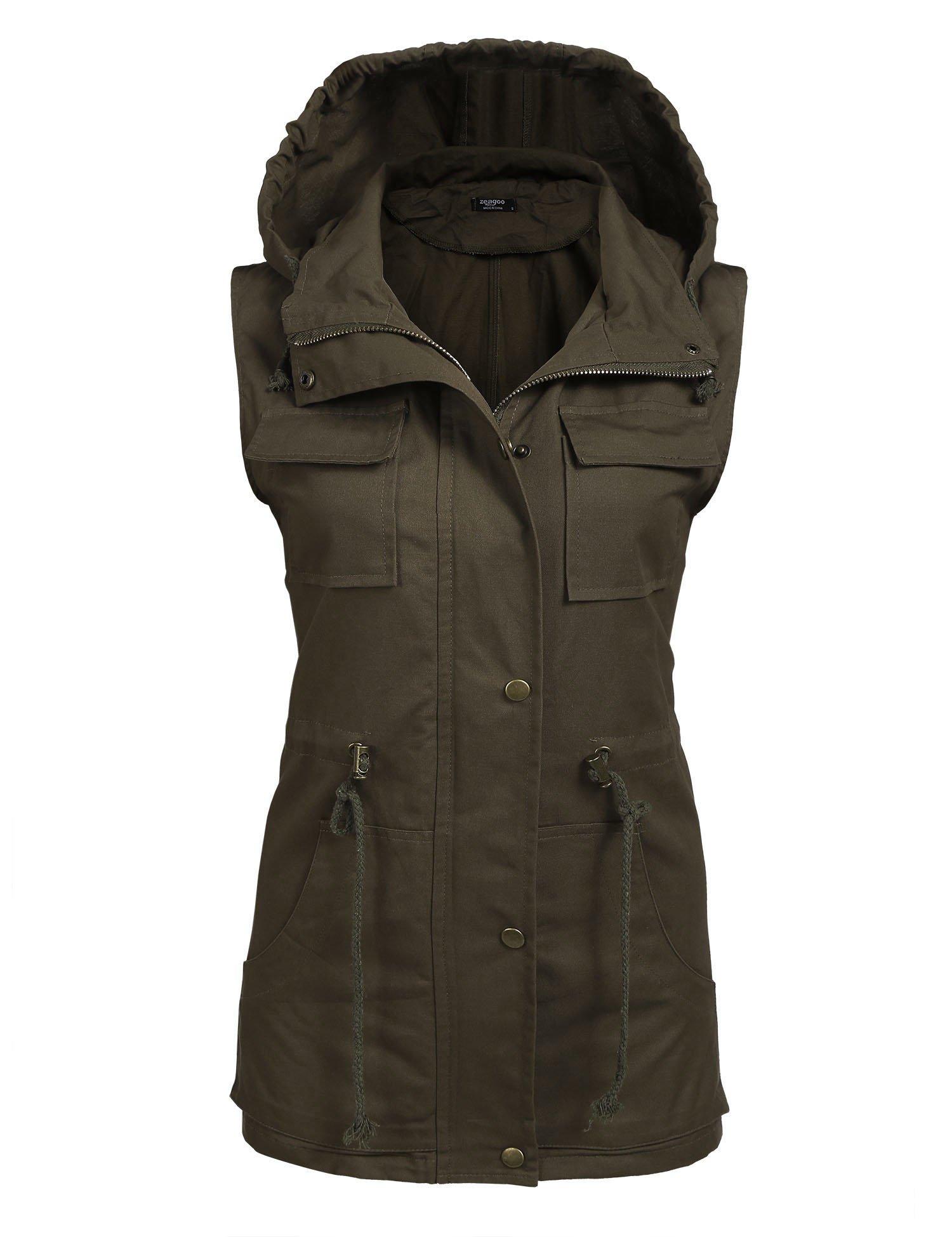 Zeagoo Womens Lightweight Sleeveless Military Anorak Vest,(A)army Green 1,X-Large