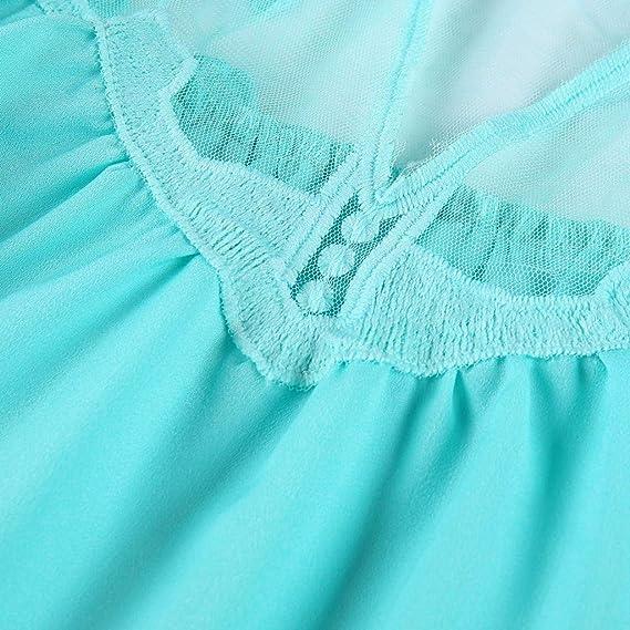 Camisa sin Mangas de Mujer,riou Encaje de Gasa para Mujer Malla con Cuello en v Suelta Talla Grande Sexy Oficina Casual Elegantes T Shirt Blusa: Amazon.es: ...