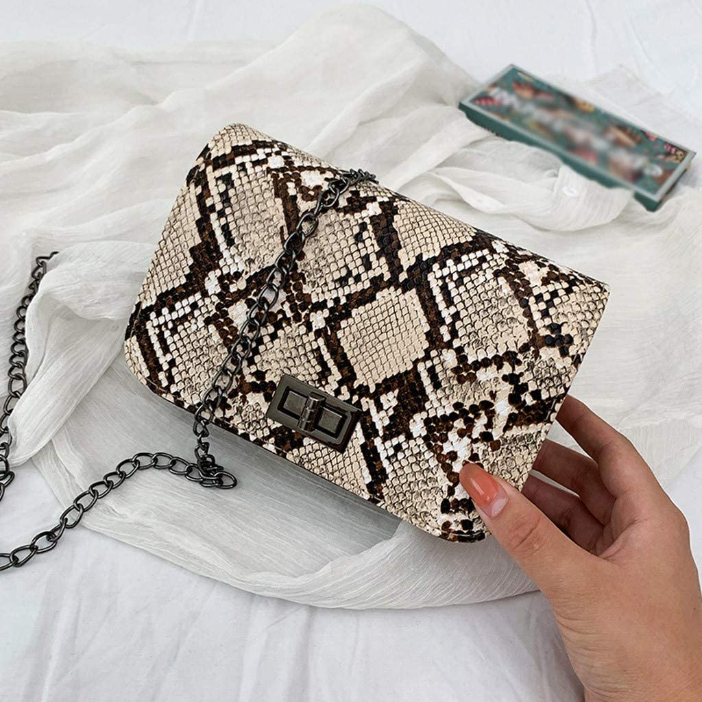 Trendy Classic Wild Snakeskin Shoulder Messenger Bag zipper packages