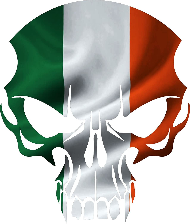 "Car Irish skull 8/""x 7/"" Color decal bumper Sticker Truck Motorcycle biker"