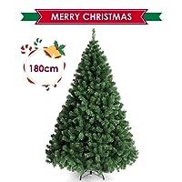 amzdeal 180cm Sapin de Noël - avec Épines Touffues et 4 Pieds en Métal, Sapin Artificiel de Noël avec 850 Branches pour Décoration de Maison, Hôtel, Boutique etc
