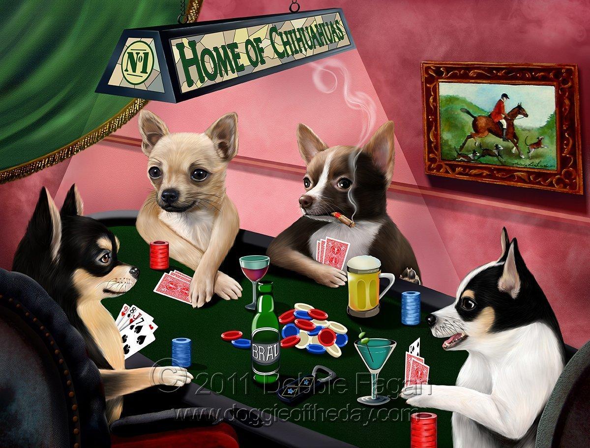 ホームのチワワ4 Dogs Playing Poker Art Portrait Print Woven Throw Sherpa Plushフリース毛布 60x80 Woven B06XWP4SPR  60x80 Woven