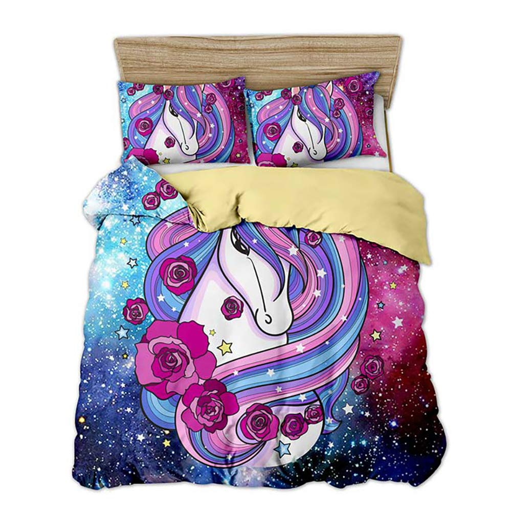 ViewHuge Unicorn Horse Pattern Bedding Kids Girls Adult Duvet Cover 3 Piece Home College Dorm Sweet Bed Sets by ViewHuge