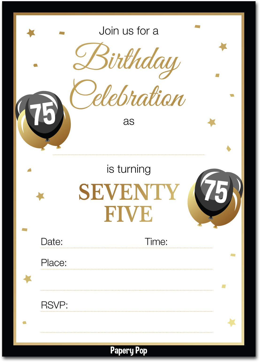 75th Birthday Invitations with Envelopes (30 Count) - 75 Seventy-Five Year Old Anniversary Party Celebration Invites Cards