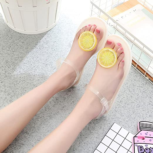 77102a180d51 Amazon.com  Cartoon Flower  Amp  Fruit Pvc Jelly Sandals Women Summer Cute  Shoes Girl  Clothing