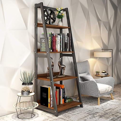 DEWEL 4-Tier Ladder Bookcase Open Freestanding Bookshelf Bathroom Living Study Room Office Kitchen Storage Shelves Metal Frame Rack Modern Industrial Style 55inch