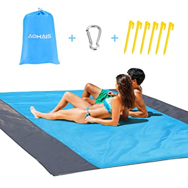 Sandfree Beach Blanket Large Size 108 x 85.2 inches for 12 Adults Outdoor Portable Travel Accessories Family Picnic Camping Mat Waterproof Lightweight Soft & Durable with 6 Stakes & 4 Corner Pockets