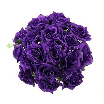 Xl 18 head cadbury purple open rose bouquet large premium fake silk xl 18 head cadbury purple open rose bouquet large premium fake silk artificial flowers funeral mightylinksfo