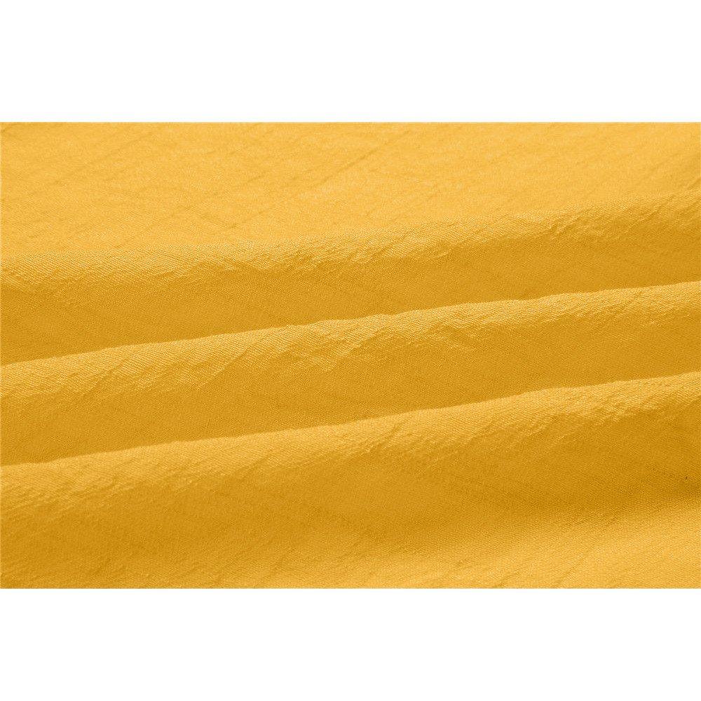 kushuang Camicia Donna Cotone e Lino Camicette Taglie Forti Camicie Manica Lunga Scollo V Bluse Maglietta Casual Elegante Camicetta T-Shirt Camicioni Top Primavera Estive Giallo M-3XL