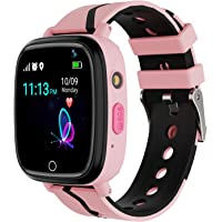 Kids Smart Watch GPS Tracker - Waterproof GPS Tracker Watch for Children Girls Boys with SOS Call Camera Touch Screen Game Alarm for Kids Boys and Girls (Pink)…