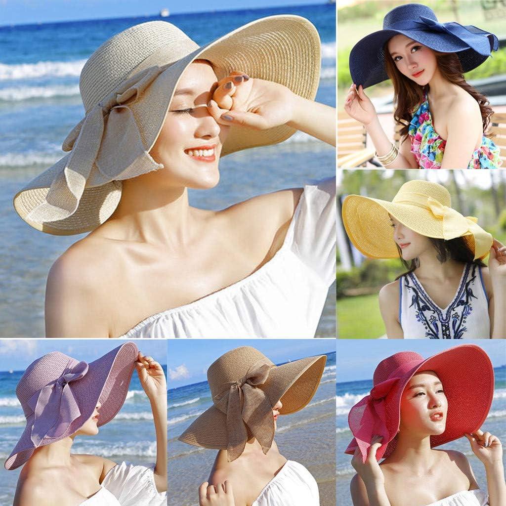 Visor,Babymomo Women Big Brim Straw Hat Wide Brim Hats New Bowknot Beach Cap Sunscreen Foldable Sun Hat