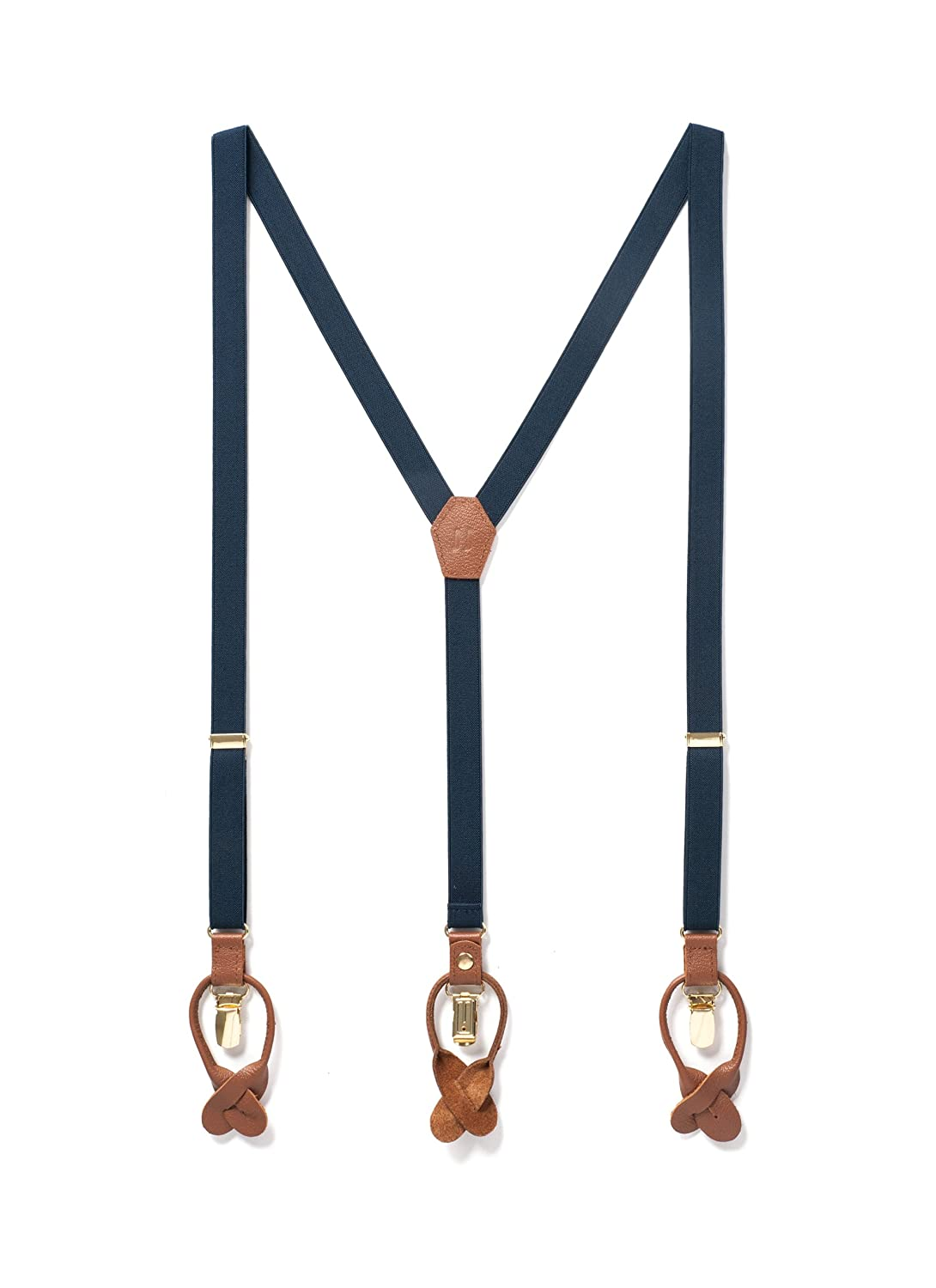 8a524b4d5037 PREMIUM QUALITY DOUBLE CLIP SUSPENDERS – These classy navy blue and tan  leather suspenders for men are timeless. Our premium quality dual clip on  suspenders ...