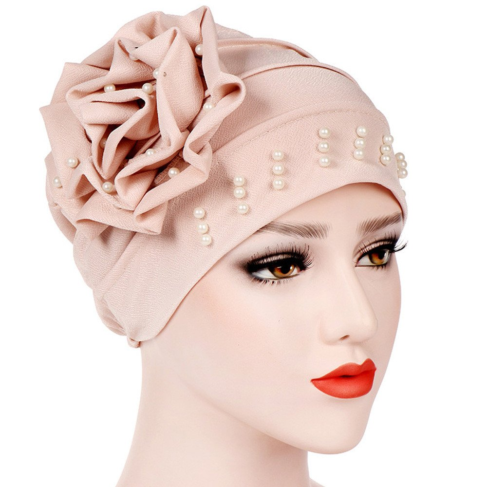 Damen Muslim Stretch Turban Hut mit Blumen Islamischen Mütze Frauen ...