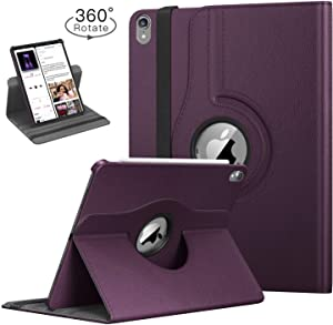 TiKeDa Prime Sale Day Deals Case for New iPad Pro 12.9-inch 2018 3rd Generation,[Not Fit iPadPro12.9 2017/2015][Support Apple Pencil Charging] 360 Degree Rotating Smart Leather Cover (Purple)