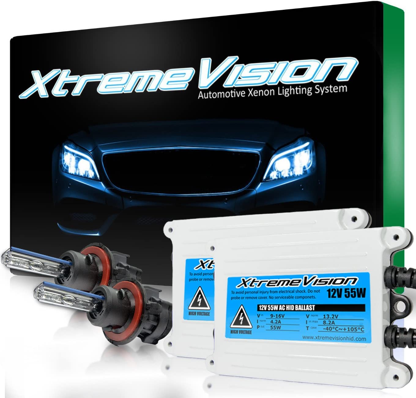 2 Year Warranty Bi-Xenon H13 // 9008 10000K 10K Dark Blue XtremeVision 55W AC Xenon HID Lights with Premium Slim AC Ballast