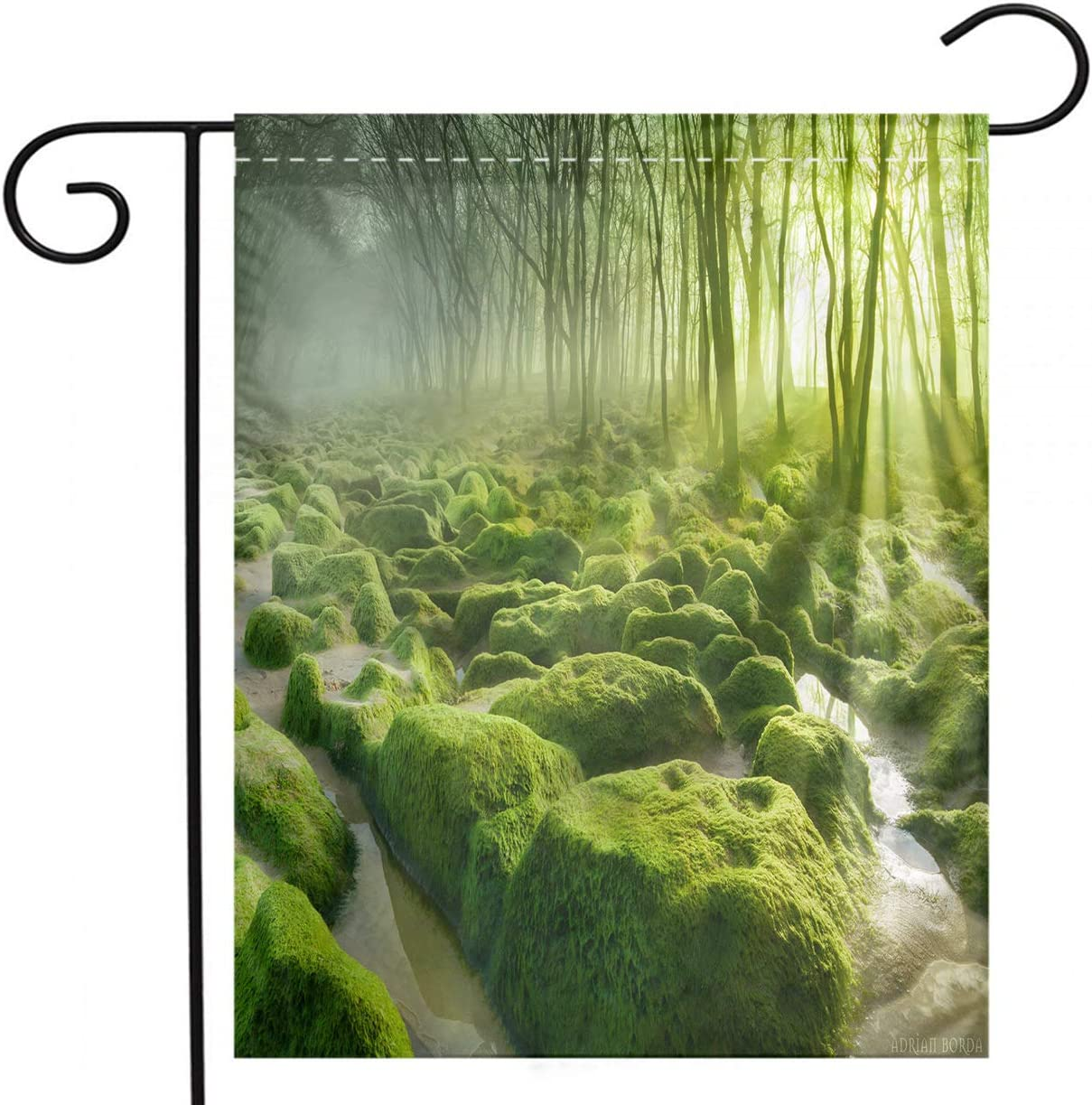 BEIVIVI Summer Garden Flag, Creative Home Garden Flag,Moss Valley with Rocks and Forests in Summer,Garden Flag for Party Holiday Home Garden Decor,Linen 28x40inch