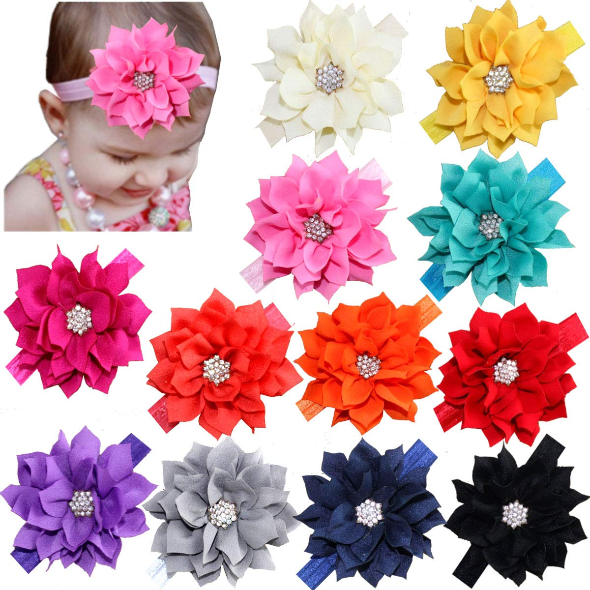 Amazon com 12pcs baby headbands flower hairbands hair bows with rhinestones for baby girls toddlers infant newborns beauty