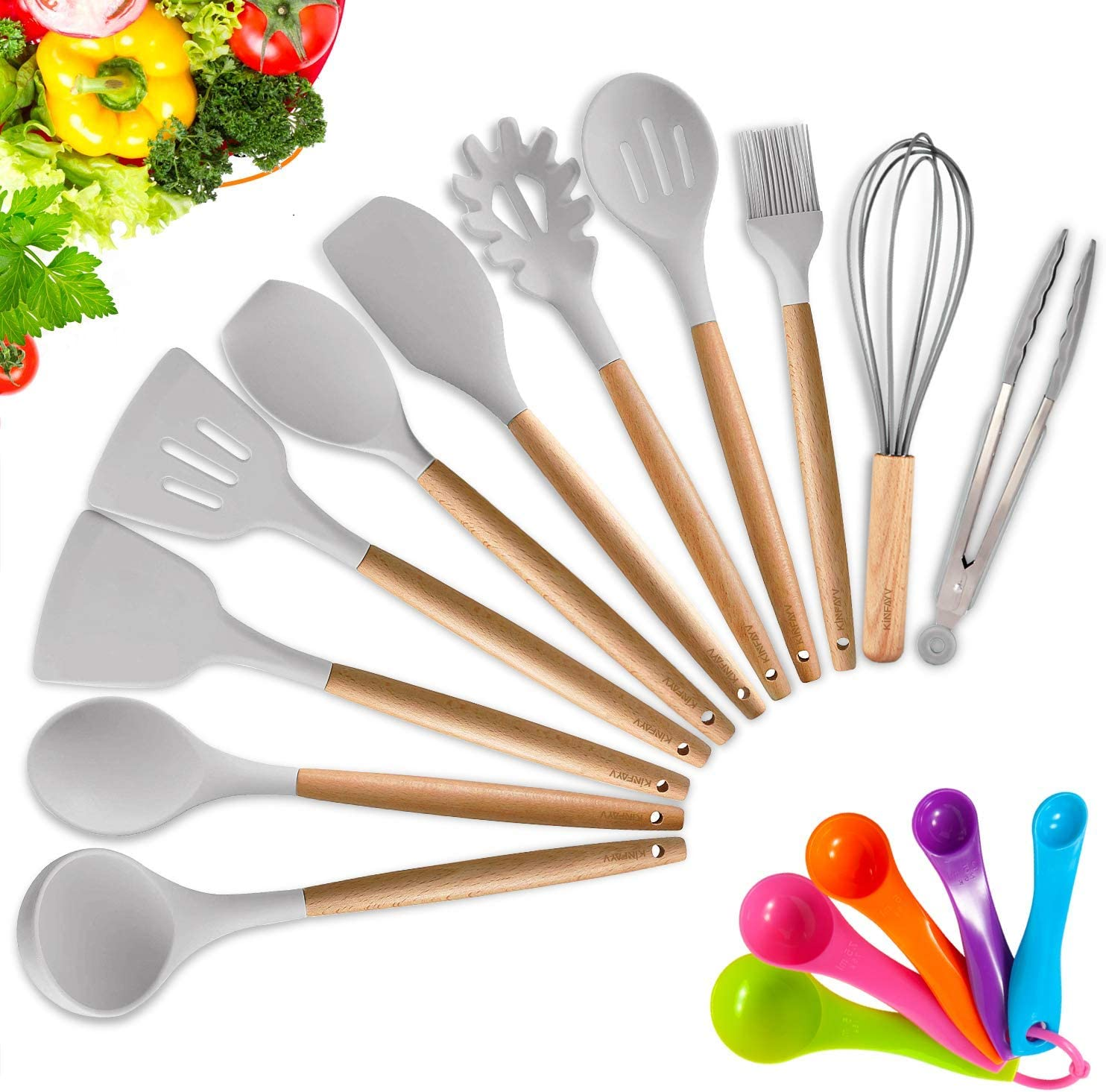KINFAYV Silicone Cooking Utensil Kitchen Utensil Set,16 PCS Acacia Wooden
