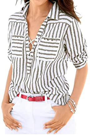 f81f74ce1 Joe Wenko Women Tie Long Sleeve Striped Lace up Curved Hem Comfort Button  Down Shirts Coffee