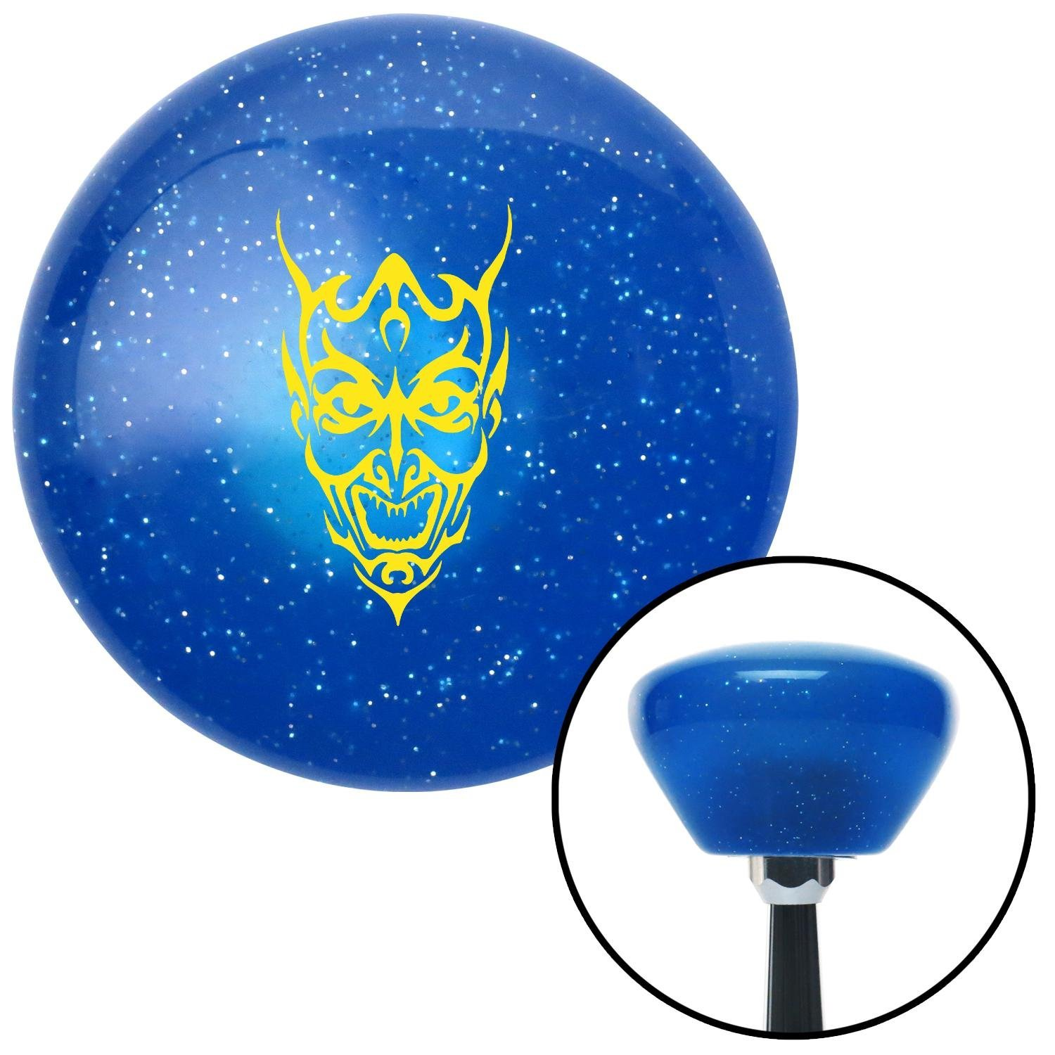American Shifter 187118 Blue Retro Metal Flake Shift Knob with M16 x 1.5 Insert Yellow Abstract Devil Face