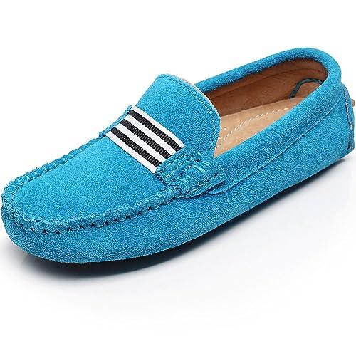 Shenn Niños Niñas Colegio Correa Ponerse Gamuza Cuero Mocasines Zapatos: Amazon.es: Zapatos y complementos