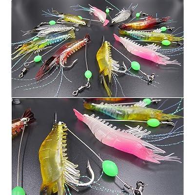 Details about  /10Pcs Shrimp Shape Luminous Fishing Lure Bait Tackle+Hook For Sea//Fresh Water