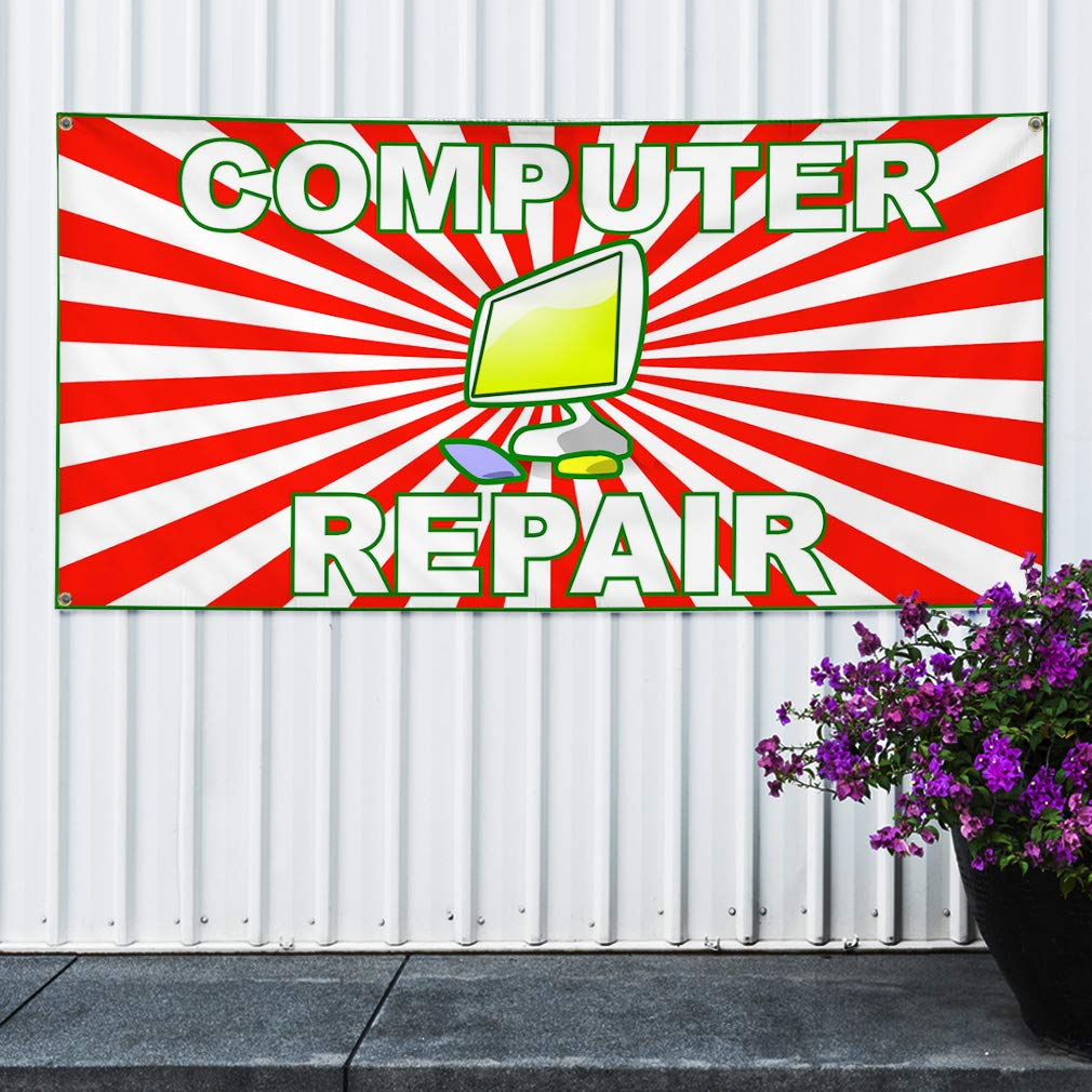 Multiple Sizes Available 6 Grommets Vinyl Banner Sign Computer Repair Red White Business Outdoor Marketing Advertising Red Set of 2 32inx80in