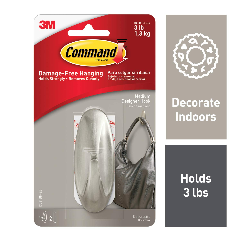 Command 17081BN-ES 051131964358 Medium Designer, Brushed Nickel, 1 Hook, 2 Strips