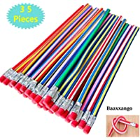 Baaxxango 35PCS Bendable Pencils with Erasers,7 inch Soft Fun Pencil,Flexible Pencils for Kids,Students as Great Party…